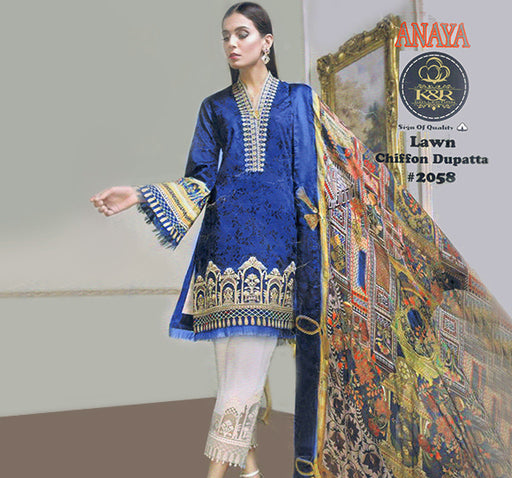 3 Piece Embroidery Unstitched Suit - Blue - Hiffey