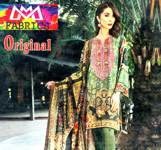 3 Piece Embroidery Unstitched Suit - Green - Hiffey