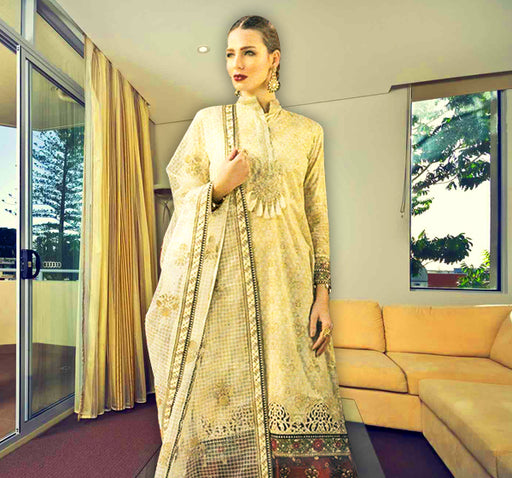 3 Piece Embroidery Unstitched Suit - Beige - Hiffey