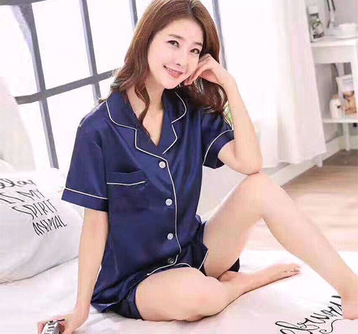 Silky Satin Shirt & Short Night Suit For Women - Blue - Hiffey