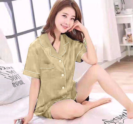 Silky Satin Shirt & Short Night Suit For Women - Beige - Hiffey