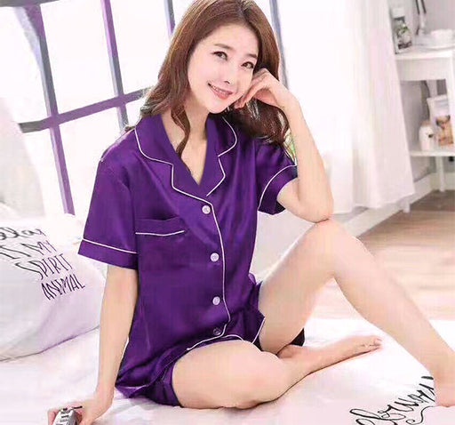 Silky Satin Shirt & Short Night Suit For Women - Purple - Hiffey