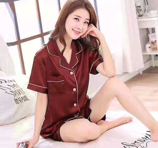 Silky Satin Shirt & Short Night Suit For Women - Maroon - Hiffey