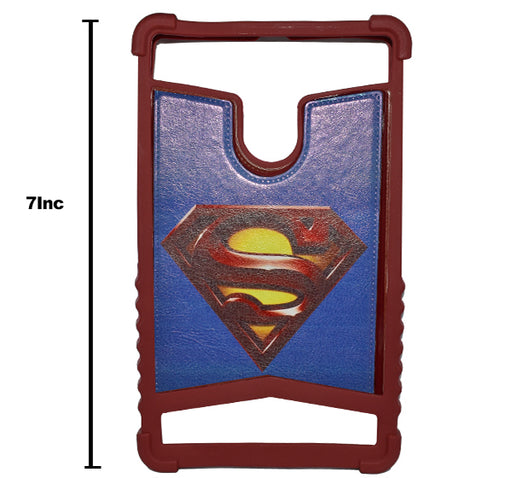 Superman Logo 7 Inch Tablet Back Cover - Maroon - Hiffey