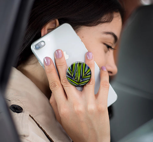 Green Blue Zigzag Pop Socket - Multicolor