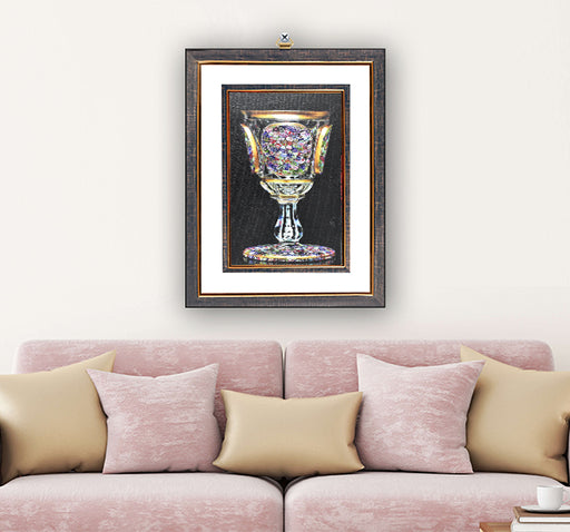 Crystal Old Wine Glass Art Design Wall Hanging Frame - Hiffey