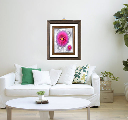 Pink SunShine Flowers Design Wall Frame - Multicolor - Hiffey