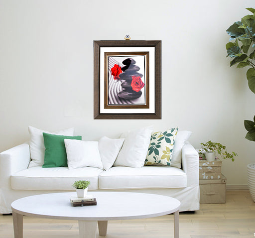 Dark Shaded Red Roses Fiber Wood Wall Frame - Multicolor - Hiffey