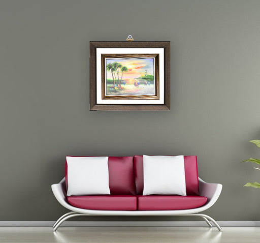 Sun Rising In The Village Painted Art Design Wall Frame - Hiffey