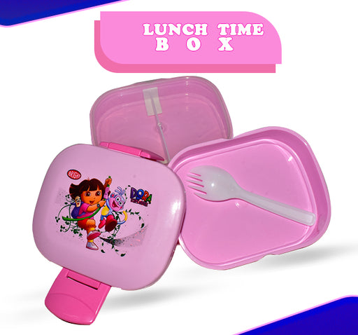 Dora The Explorer Printed Lunch Box For Kids - Pink - Hiffey