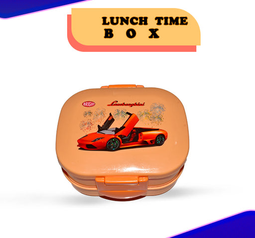 Lamborghini Car Printed Lunch Box For Kids - Orange - Hiffey