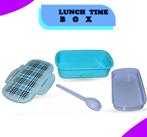 Multi Check Design School Lunch Box For Kids - Sky Blue - Hiffey