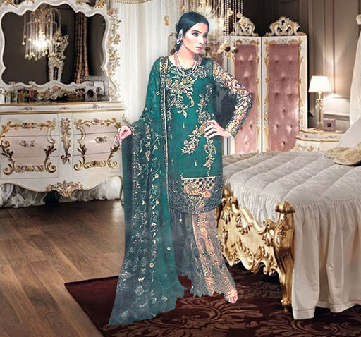 3 Piece Luxury Unstitched Suit With Embroidered Bunch - Dark Green - Hiffey