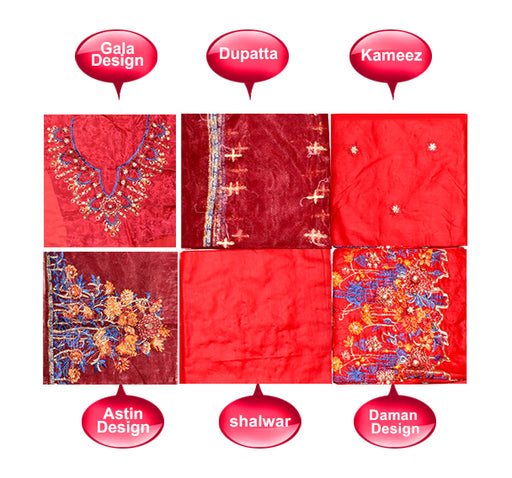 3 Piece Luxury Unstitched Suit With Embroidered Bunch - Red - Hiffey