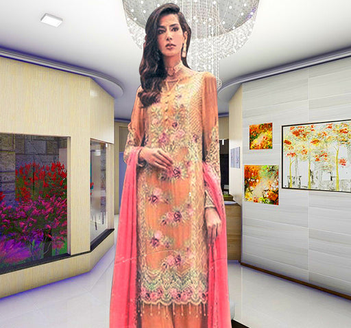 3 Piece Luxury Unstitched Suit With Embroidered Bunch - Light Orange - Hiffey