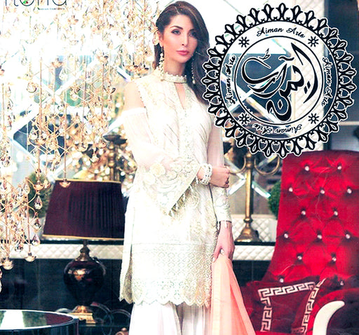 3 Piece Luxury Unstitched Suit With Embroidered Bunch - White - Hiffey
