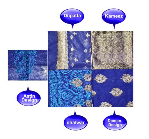3 Piece Luxury Unstitched Suit With Embroidered Bunch - Dark Blue - Hiffey