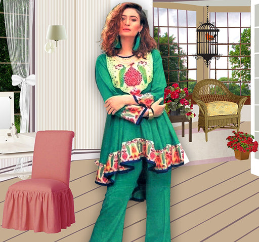 3 Piece Luxury Unstitched Suit With Embroidered Bunch - Sea Green - Hiffey