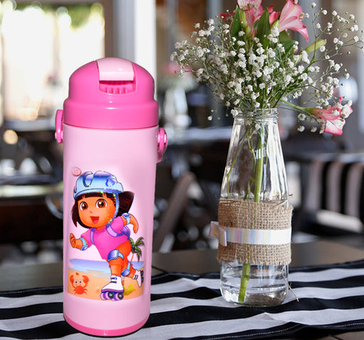 Skating Dora Character School Thermos For Kids - Pink - Hiffey