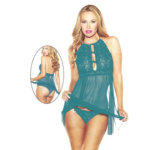 Lacey Velvet Short Nighty For Women - Dark Cyan - Hiffey