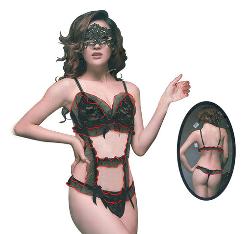 Red Border Laced Black Net Nighty For Women - Hiffey