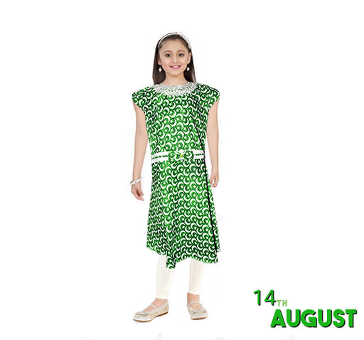 14 August Stylish Frock With White Pajama For Girls - Green - Hiffey