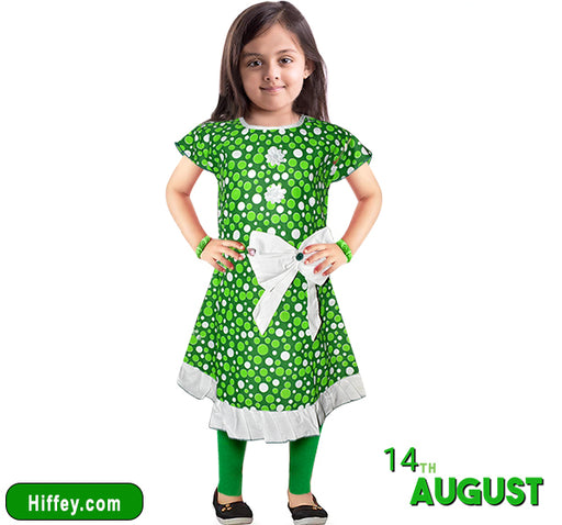 14 August Polka Dots Printed Frocks & Pajama - Green & White - Hiffey