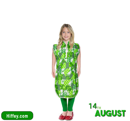 14 August Stylish Frock With Green Pajama For Girls - Dark Green - Hiffey