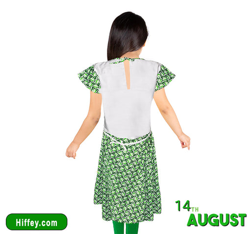 14 August Moon & Stars Printed Frock & Pajama For Girls - Green & White - Hiffey