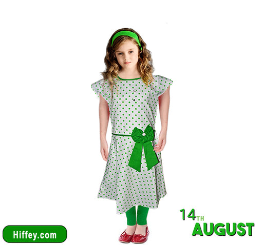 14 August Polka Dots Printed White Frock With Dark Green Pajama - Hiffey