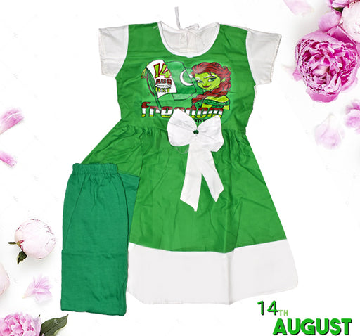 14 August Freedom Expression Frock & Pajama For Girls - Green & White - Hiffey