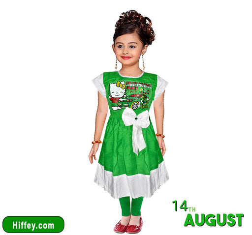 14 August Hello Kitty Car Printed Frock & Pajama For Girls - Green & White - Hiffey