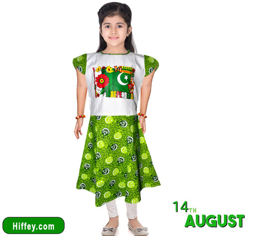 Happy Independence Day Frock & Pajama For Girls - Green & White - Hiffey