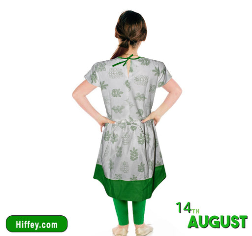 14 August Pocket Style Swirl Frock & Pajama For Girls - Green & White - Hiffey