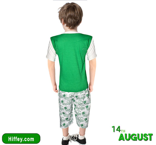Happy Independence Shirt & Short For Boys - Green & White - Hiffey