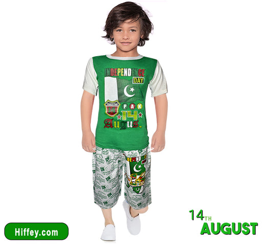 Independence Day T-Shirt & Short For Boys - Green & White - Hiffey