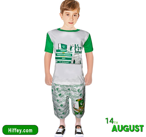 Celebrate Freedom 14 August Shirt & Short For Boys - Green & White - Hiffey