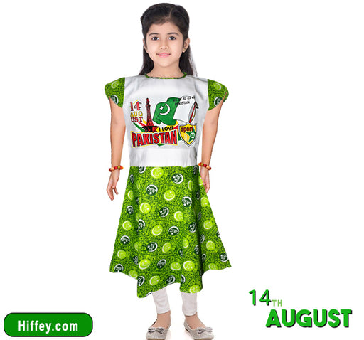 I love Pakistan Printed Frock & Pajama For Girls - Green & White - Hiffey