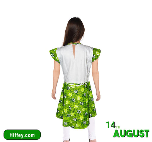 14 August Frocks And Pajama For Girls - Green & White - Hiffey