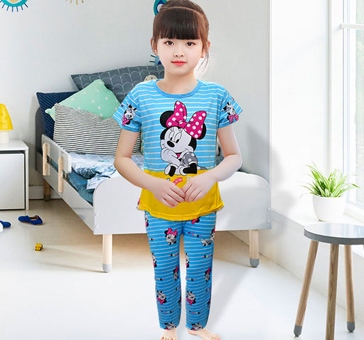 Mickey Mouse Printed Night Suit For Kids - Light Blue - Hiffey
