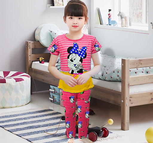 Mickey Mouse Printed Night Suit For Kids - Pink - Hiffey