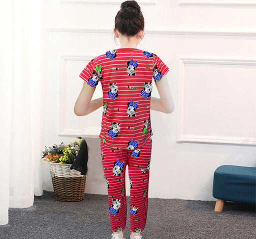 Mickey Mouse Printed Night Suit For Kids - Red - Hiffey