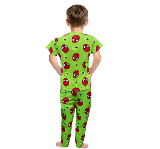 Spiderman Printed Night Suit For Boys - Green - Hiffey