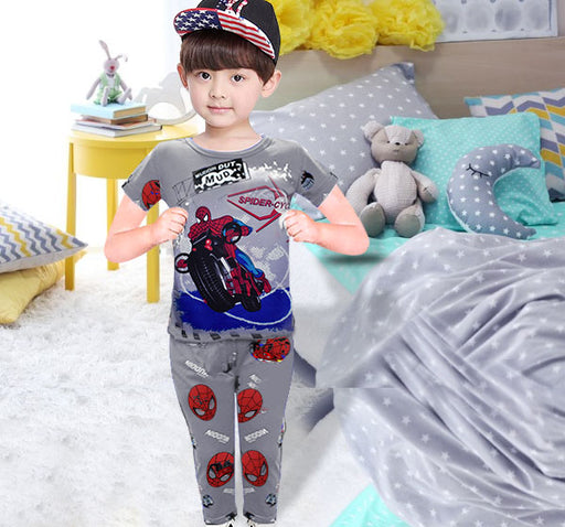 Spiderman Printed Night Suit For Boys - Grey - Hiffey