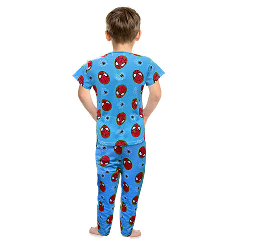 Spiderman Printed Night Suit For Boys - Light Blue - Hiffey