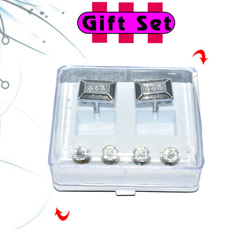 2 In 1 Gift Set For Men Grey Cufflinks, & Silver Buttons - Hiffey