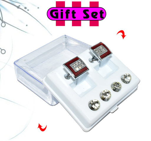 2 In 1 Gift Set For Men Red Cufflinks, & Silver Buttons - Hiffey