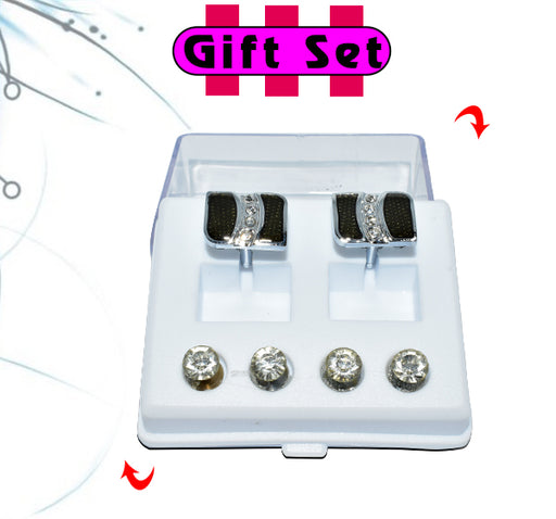 2 In 1 Gift Set For Men Black Cufflinks, & Silver Buttons - Hiffey