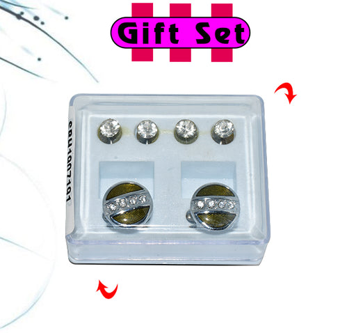 2 In 1 Gift Set For Men Green Cufflinks, & Silver Buttons - Hiffey