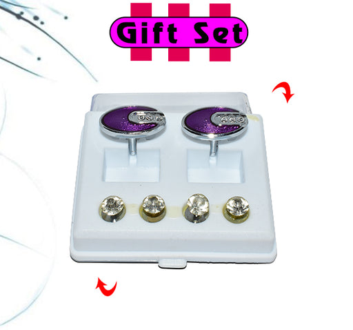 2 In 1 Gift Set For Men Purple Cufflinks, & Silver Buttons - Hiffey